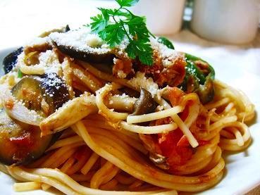 ツナと茄子のナポリタンスパゲッティ